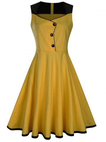 Fashion Sleeveless Button Embellished Vintage Dress - S YELLOW Mobile