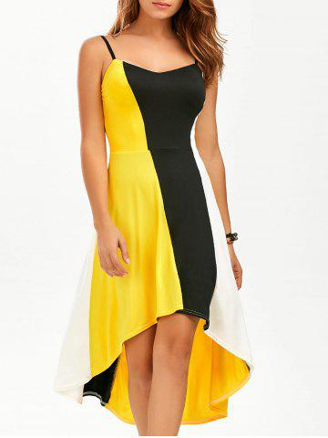 Trendy Color Block High Low Tea Length Dress