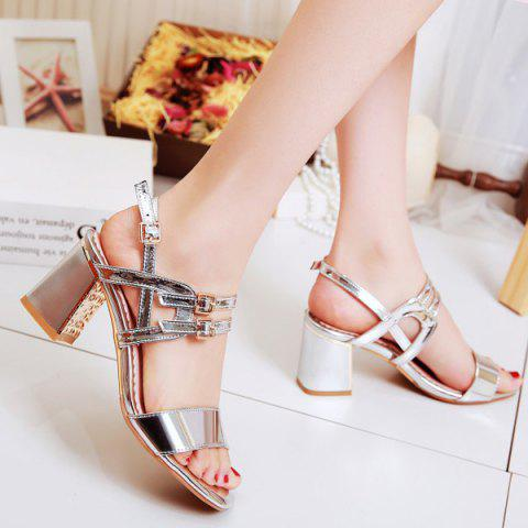 Buy Patent Leather Buckle Straps Sandals SILVER 38