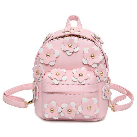 Best Flowers Faux Leather Mini Backpack PINK