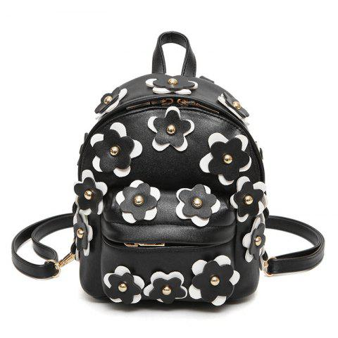 Flowers Faux Leather Mini Backpack - Black