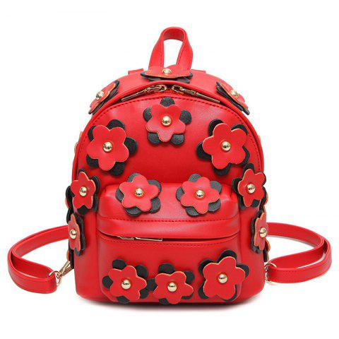 Sale Flowers Faux Leather Mini Backpack RED