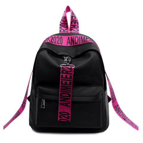 Unique Graphic Print Straps Nylon Backpack ROSE RED