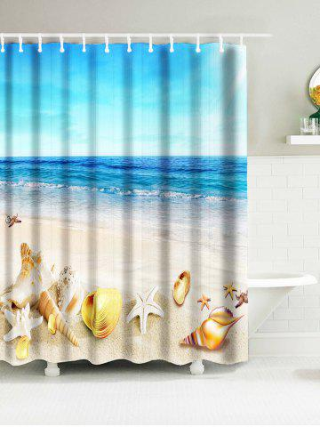 Sea Beach Shell Print Waterproof Nautical Bath Curtain - Sky Blue - W71 Inch * L71 Inch