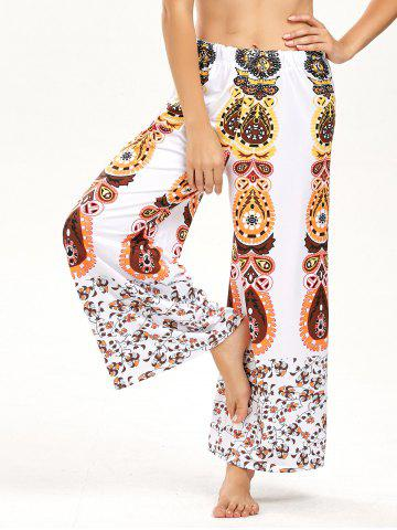 High Waisted Floral Print Palazzo Pants - White - Xl