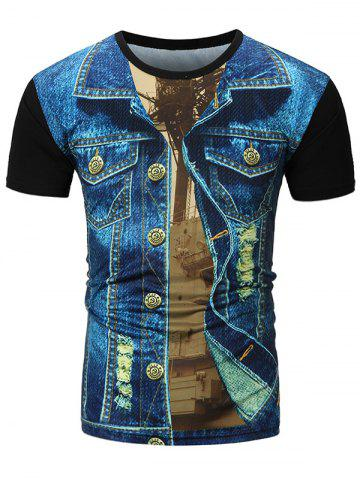Denim Jacket 3D Printed Tee - Denim Blue - M