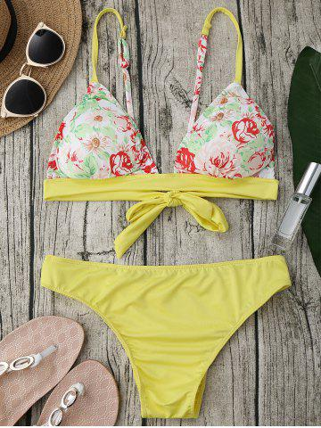 Cheap Padded Floral Bikini Set YELLOW XL