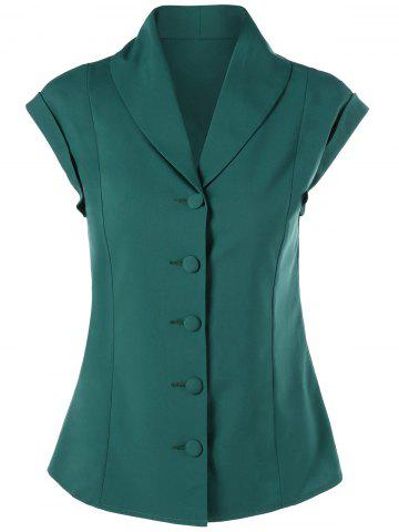 Button Up Shawl Collar Slimming Blouse - Green - L