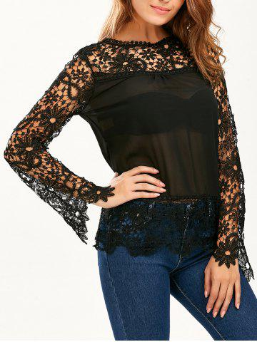 Discount Stylish Round Neck Long Sleeve Spliced Hollow Out Women's Blouse - L BLACK Mobile