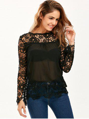 Store Stylish Round Neck Long Sleeve Spliced Hollow Out Women's Blouse - 2XL BLACK Mobile