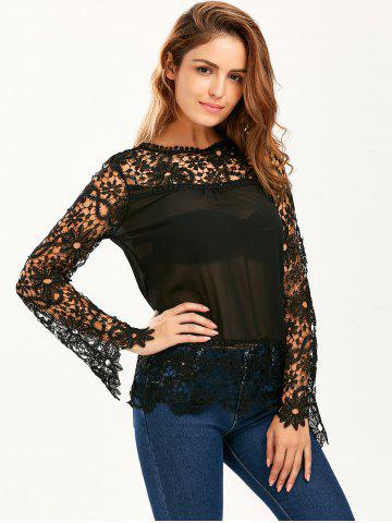 Outfit Stylish Round Neck Long Sleeve Spliced Hollow Out Women's Blouse - 2XL BLACK Mobile