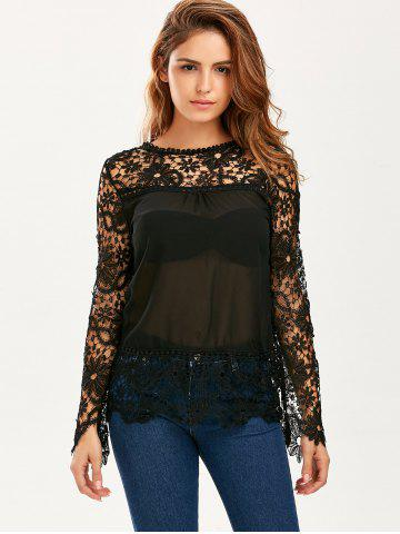 Cheap Stylish Round Neck Long Sleeve Spliced Hollow Out Women's Blouse - 2XL BLACK Mobile