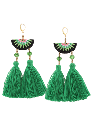 Outfits Ethnic Geometric Embroidery Beaded Tassel Earrings GREEN