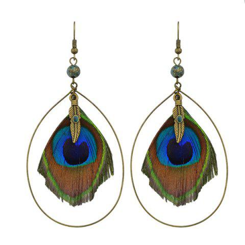 Teardrop Peacock Feather Hook Drop Earrings - Golden