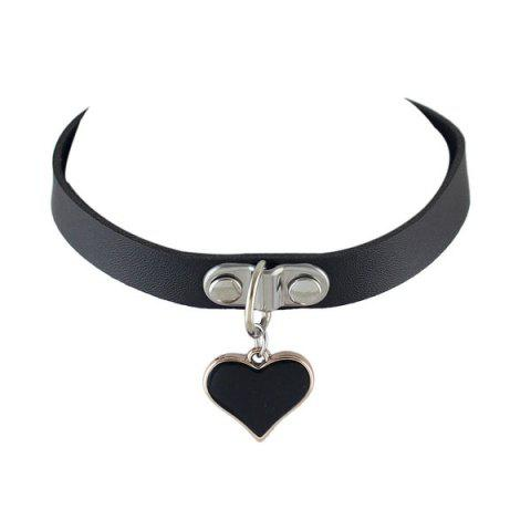 Faux Leather Love Heart Shape Choker Necklace - Black