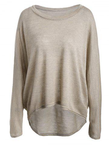 Hot Dolman Sleeve Asymmetrical Sweater APRICOT L