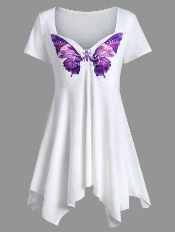 Affordable Sweetheart Neck Asymmetrical Butterfly Print Peplum Tee WHITE M