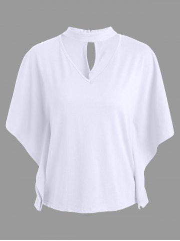 Keyhole Neck Butterfly Sleeve Tee - White - Xl