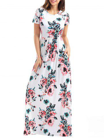 Buy Short Sleeve Floral Maxi Dress WHITE M