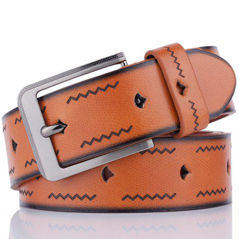 Best Faux Leather Pin Buckle Wavy Line Embossed Belt BROWN