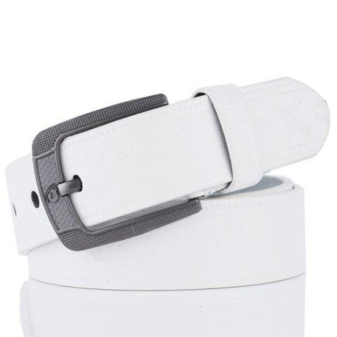 Online Faux Leather Retro Embossing Pin Buckle Belt WHITE