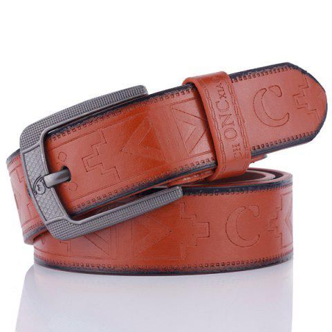 Faux Leather Retro Embossing Pin Buckle Belt - Brown - 38