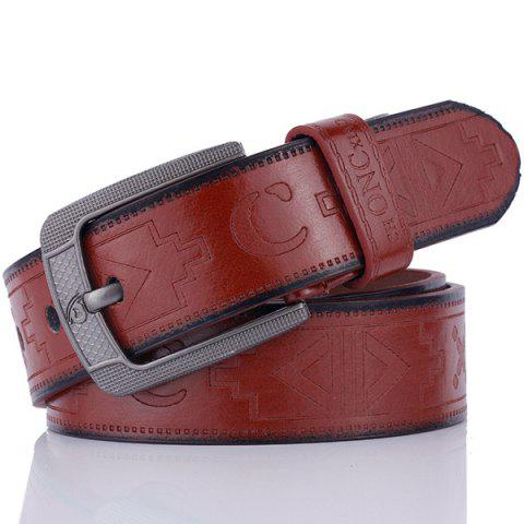 Shop Faux Leather Retro Embossing Pin Buckle Belt COFFEE
