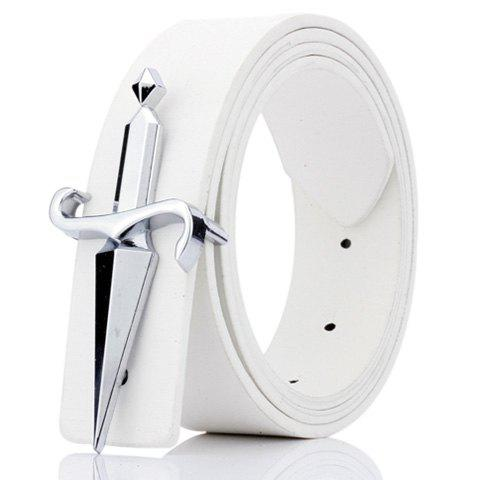 Fashion Plate Buckle Tapered Crucifixion Artificial Leather Belt WHITE