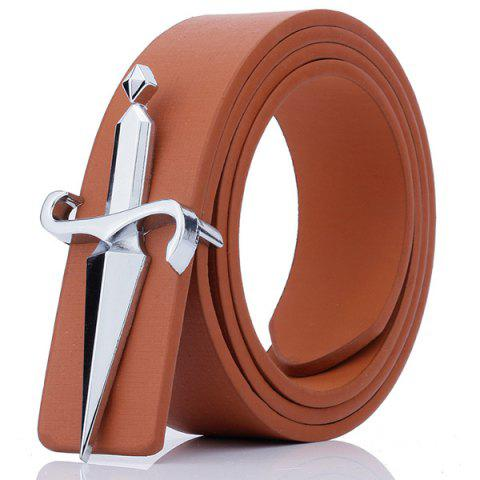 Plate Buckle Tapered Crucifixion Artificial Leather Belt - Brown - 38