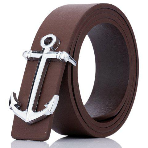 Fashion Plate Buckle Anchor Shape Faux Leather Belt