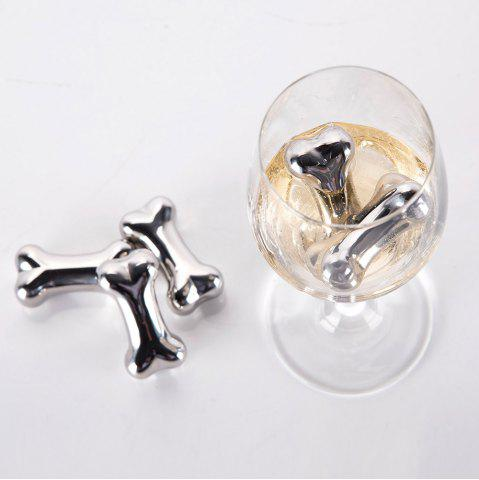 Trendy 4 Pcs Stainless Steel Wine Cooling Stone Bone Shape Whiskey Ice Cubes - STAINLESS STEEL  Mobile
