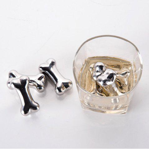 Affordable 4 Pcs Stainless Steel Wine Cooling Stone Bone Shape Whiskey Ice Cubes - STAINLESS STEEL  Mobile