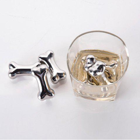 New 4 Pcs Stainless Steel Wine Cooling Stone Bone Shape Whiskey Ice Cubes - STAINLESS STEEL  Mobile