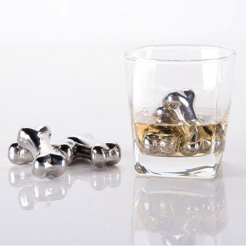 Shops 4 Pcs Stainless Steel Wine Cooling Stone Bone Shape Whiskey Ice Cubes - STAINLESS STEEL  Mobile