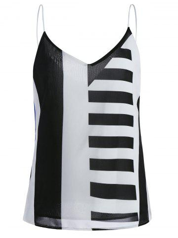 Stripe V Neck Chiffon Camisole - Black - Xl