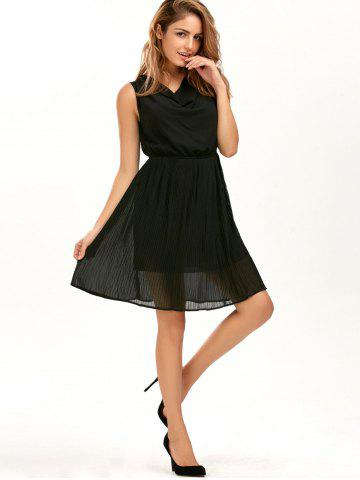 Unique Casual Pleated Sleeveless Chiffon Flowy Dress - S BLACK Mobile