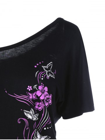 Buy Skew Collar Butterfly and Floral T-Shirt - 2XL BLACK Mobile