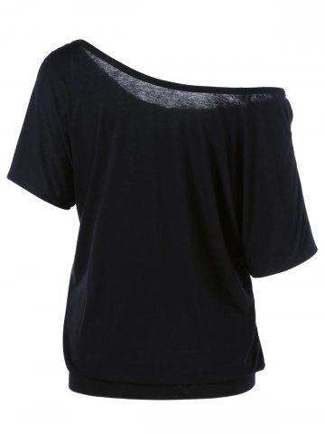 Trendy Skew Collar Butterfly and Floral T-Shirt - 2XL BLACK Mobile