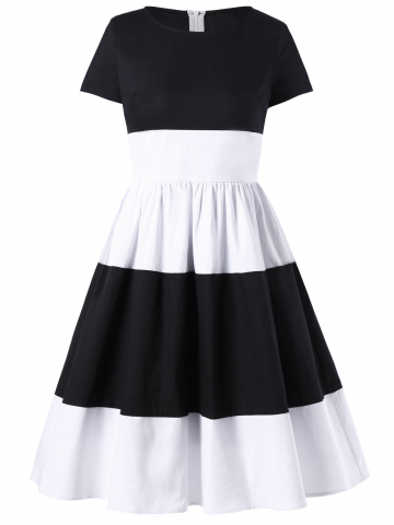 Buy Two Tone 1950s A Line Dress With Sleeves - 2XL WHITE AND BLACK Mobile