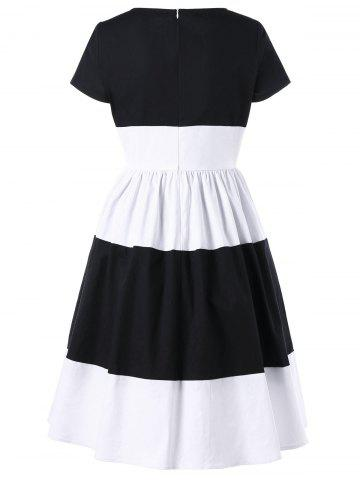 Sale Two Tone 1950s A Line Dress With Sleeves - 2XL WHITE AND BLACK Mobile