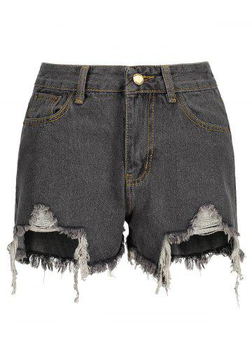 Sale High Waisted Frayed Denim Shorts SMOKY GRAY S