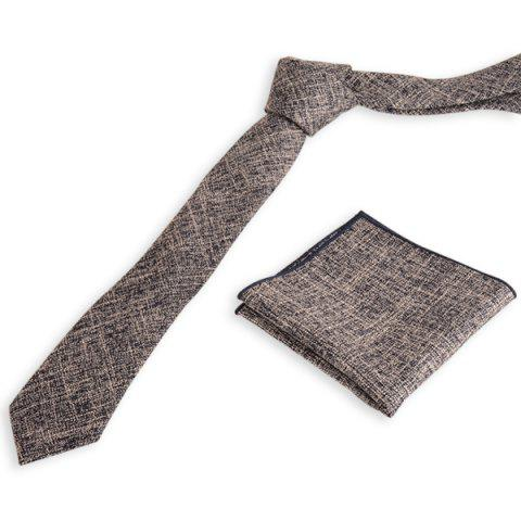 Trendy Blend Linen Grain Handkerchief Neck Tie Set