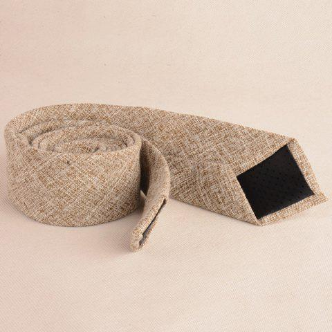 Trendy Blend Linen Grain Handkerchief Neck Tie Set - KHAKI  Mobile