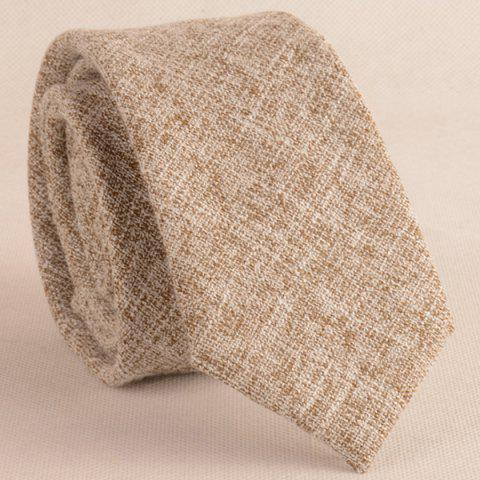 Fancy Blend Linen Grain Handkerchief Neck Tie Set - KHAKI  Mobile