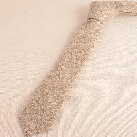 Chic Blend Linen Grain Handkerchief Neck Tie Set - KHAKI  Mobile