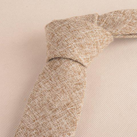 Discount Blend Linen Grain Handkerchief Neck Tie Set - KHAKI  Mobile