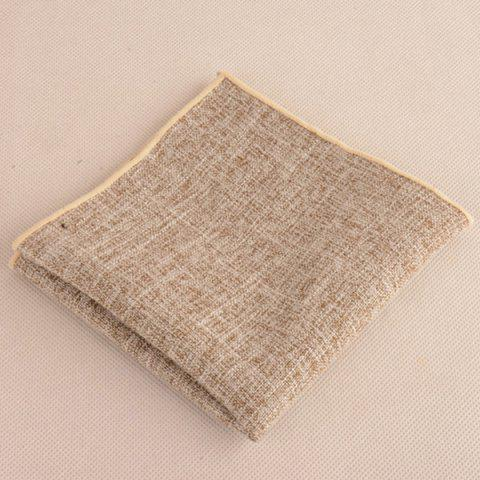 Buy Blend Linen Grain Handkerchief Neck Tie Set - KHAKI  Mobile