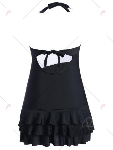 Outfit Halter Tiered Ruffles Skirted Swimsuit - M BLACK Mobile