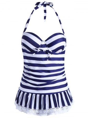 Store Halter Striped Skirted One Piece Swimwear - XL BLUE Mobile