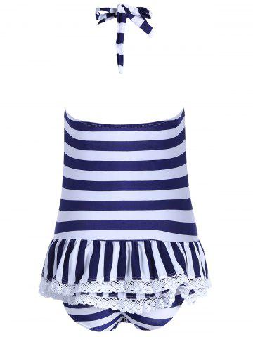 Shops Halter Striped Skirted One Piece Swimwear - XL BLUE Mobile